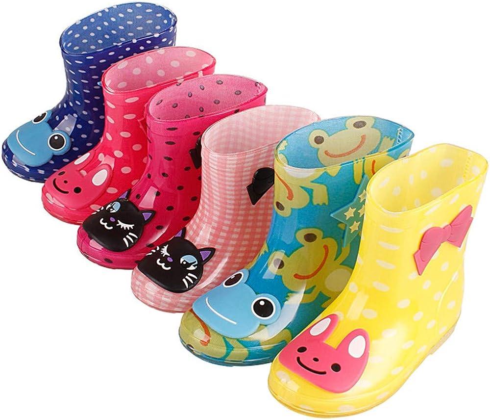 MO MOKER Toddler Little Kid Big Kid Soft Rubber Rain Boots Anti-Slip Rain Shoes Fun Colors and Designs,Red,28