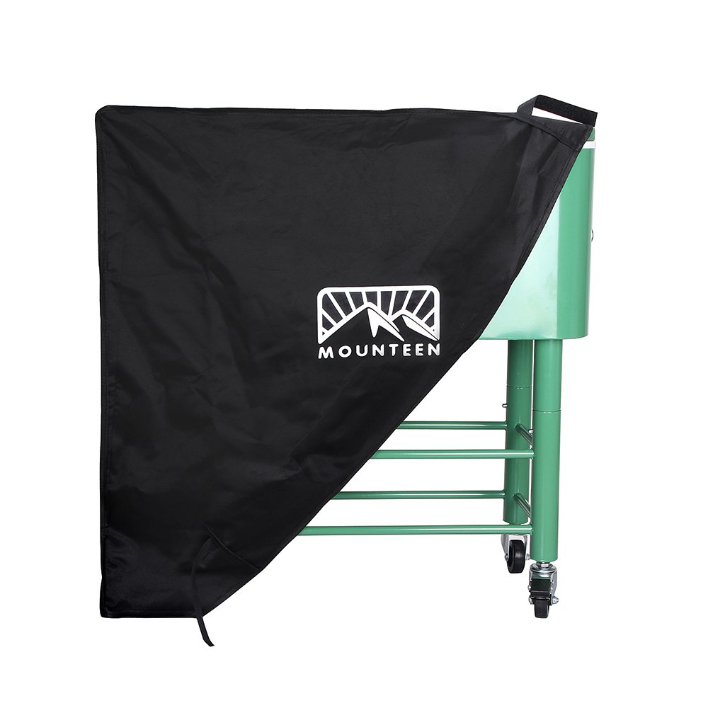 Mounteen Cooler Cart Cover Universal Heavy Duty Waterproof UV Resistant Perfect for Patio and Rolling Cooler Suitable for 80QT Cooler Cart Black