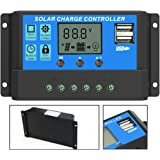 ALLPOWERS 20A Solar Charger Controller Solar Panel Battery Intelligent Regulator with USB Port Display 12V/24V