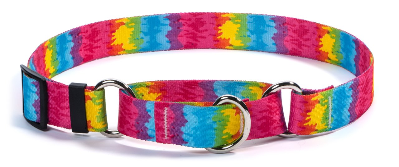 Medium 20\ Yellow Dog Design Tie-Dye Martingale Dog Collar-Size Medium-1 Inch Wide and fits Neck Sizes 14 to 20 inches