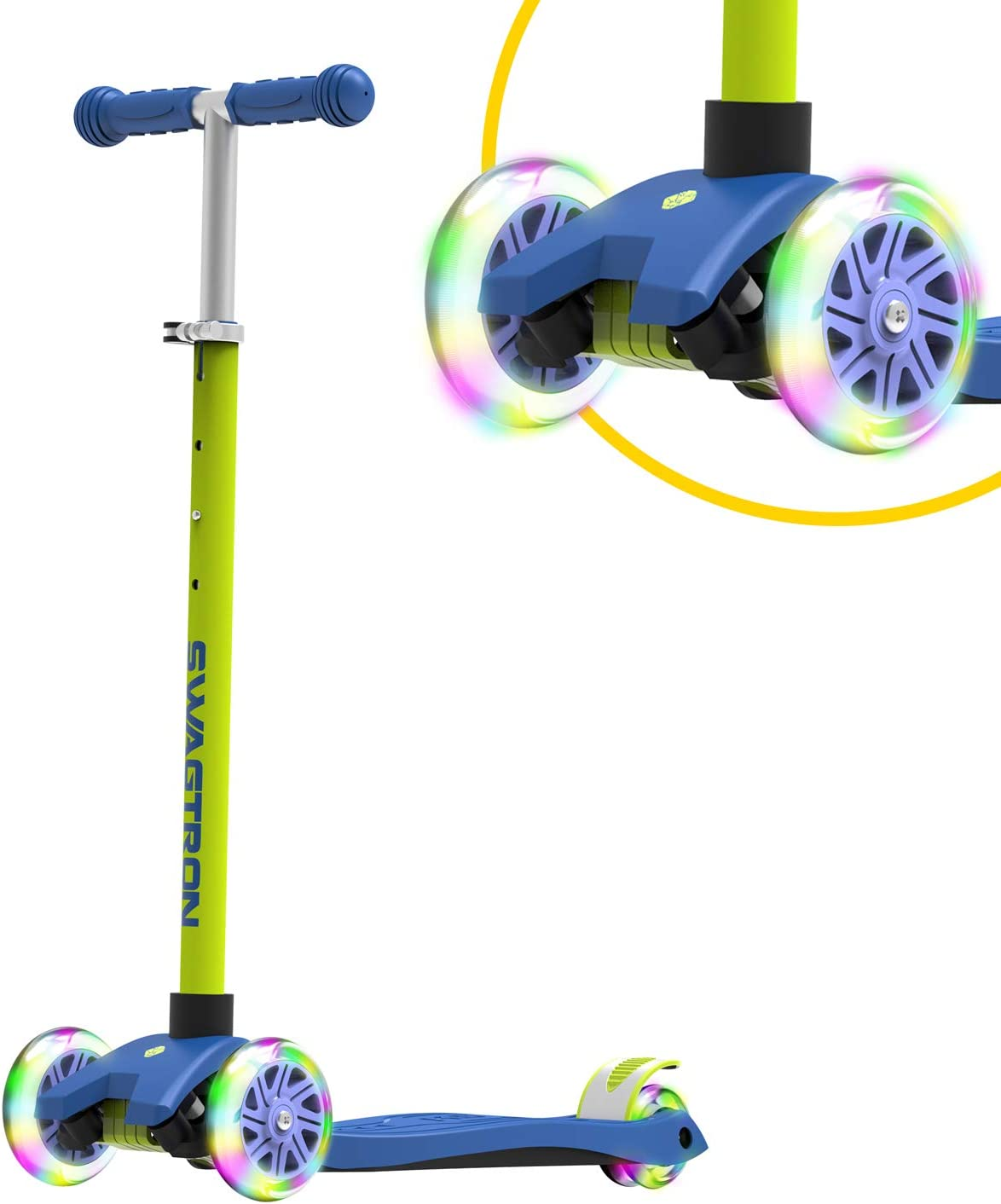 Swagtron K5 3-Wheel Kids Scooter with Light-Up Wheels | Quick Assembly | ASTM-Certified | Height-Adjustable for Boys or Girls Ages 3+