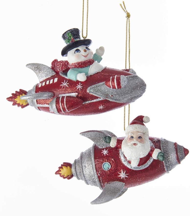 Kurt Adler Santa and Snowman Rocket Christmas Holiday Ornaments Mid Century Style Set of 2