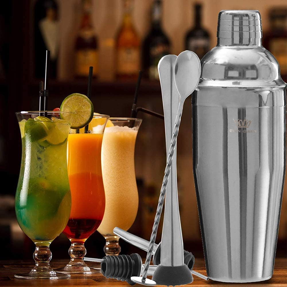 Double Measuring Jigger Strainer and Bottle Ice Tongs 10 Piece 24oz Cocktail Shaker Set Bartender Kit Liquor Pourers Stainless Steel Home Bar Tools with Shaking Tins Muddler Mixing Spoon