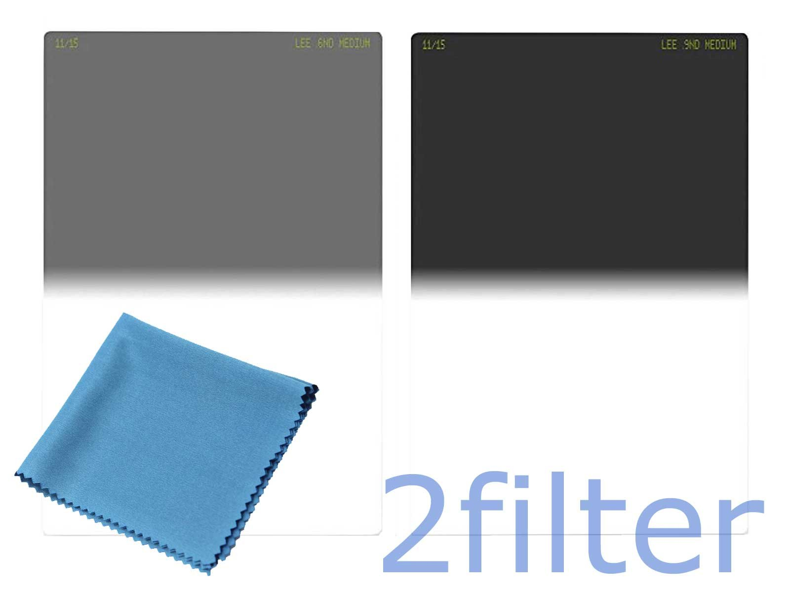 Lee Filters 100mm Medium Edge Filter Twin Pack - Includes Lee 100mm Graduated ND 0.6 and 0.9 Medium Edge Filters and 6x7 Wyndham Digital Microfiber Cloth by Lee Filters
