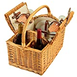 Cheap Picnic at Ascot Vineyard Willow Picnic Basket, Natural/Diamond Orange