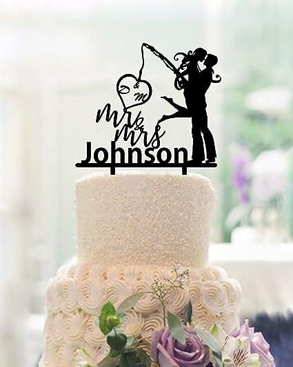 Amazon Com Fishing Wedding Cake Toppers Bride And Groom Wedding