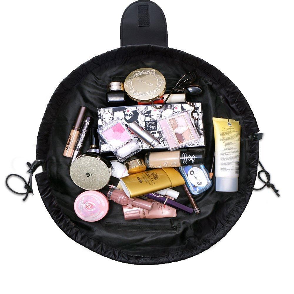 Lazy Cosmetic Bag, Organizzatore di gioielli da toeletta di trucco con cerniera e strisce Organizer Borsa Beauty Case da Viaggio (Blu)