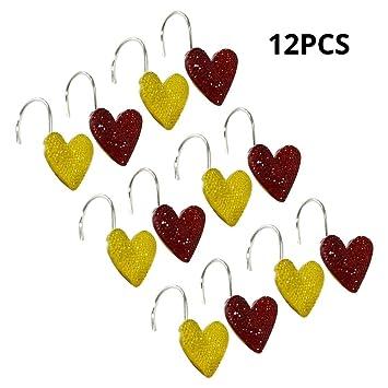 12PCS Coloré Coeur Amour Motif Salle De Bains Rideau De Douche ...