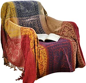 amorus Chenille Jacquard Tassels Throw Blankets for Bed Couch Decorative Soft Chair Cover - Colorful Tribal Pattern (M)