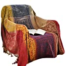 amorus Chenille Jacquard Tassels Throw Blankets for Bed Couch Decorative Soft Chair Cover - Colorful Tribal Pattern (L - 86 x 102 Inches)