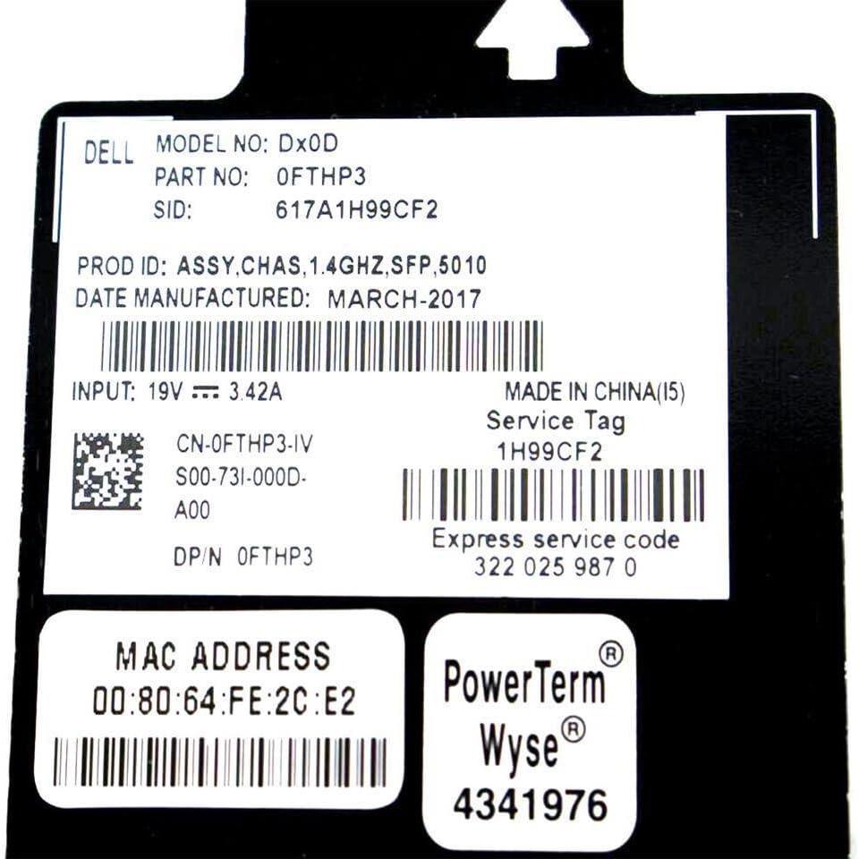 Dell Wyse Dx0D-5010 Dual-core AMD G-T48E 1.40GHz Gigabit Ethernet RJ-45 Radeon HD 6250 Graphics 4GB DDR3 SDRAM 16GB SSD Windows Embedded Standard 7 Thin Client FTHP3-SP-GGG