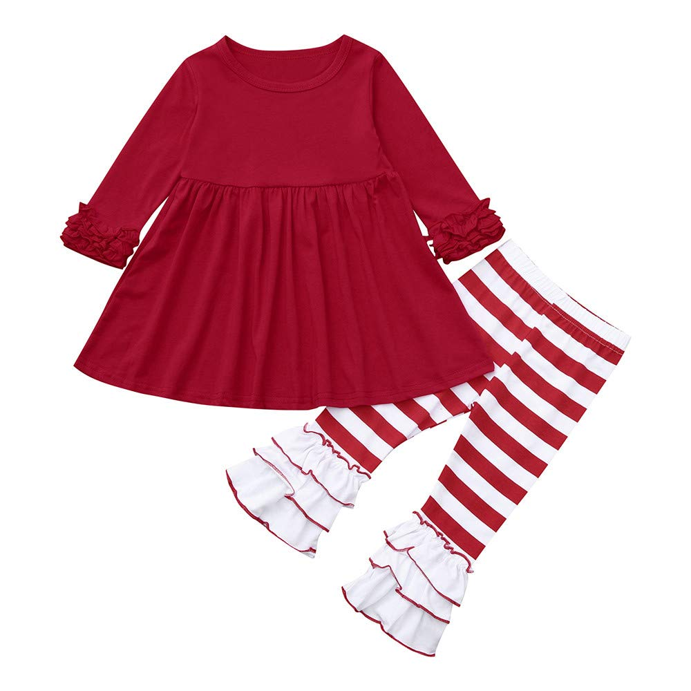 Baby Girls Christmas Pant Set Little Girls Ruffle Long Sleeve Tops Dress Striped Pants Outfit Clothes (age: 2-3 Years, Red) Fdsd