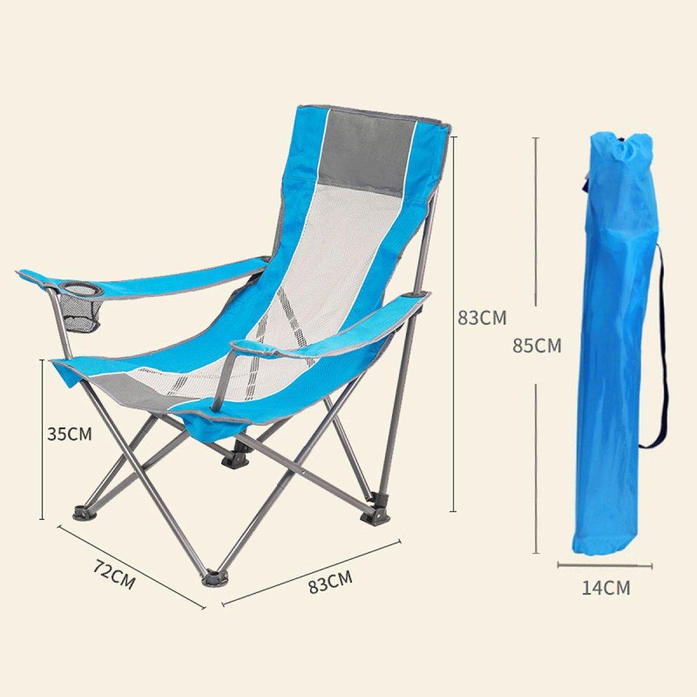 LDFN Tragbarer Campingstuhl Multifunktionsstuhl Im Freien Strandkorb Atmungsaktive Net Und Eisen Armlehnsessel,E-728383cm