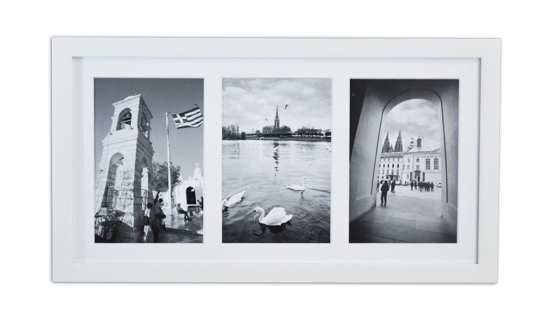 Golden State Art, Displays (3) 5x7 pictures, White Photo Wood Collage Frame with REAL GLASS and White Mat 4830076