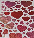 "Custom & Decorative {2"" X 2"" Inch} 76 Piece Pack of Mid-Size Stickers for Arts, Crafts & Scrapbooking w/ Cute Shiny Sparkly Glittery Valentines Day Hearts {Red, Pink, Yellow, Orange, & White}"