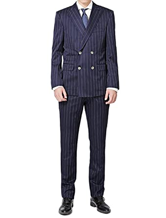 a7b104bc27f4 Jingmo Double Breasted Suit Men Pinstripe Navy Slim Fit Business Suit Sets  Seersucker Jacket and Pants at Amazon Men's Clothing store: