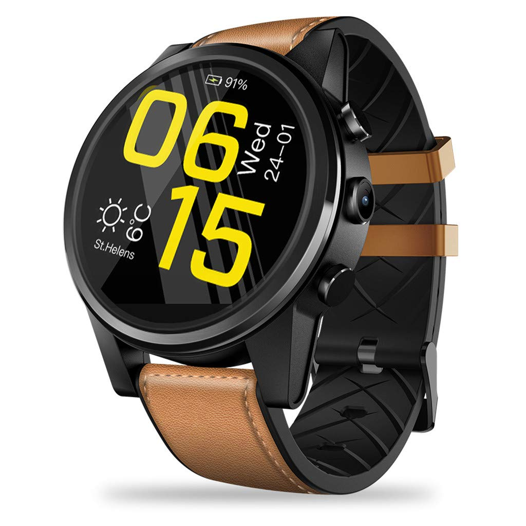 Gift for Him,Zeblaze Smartwatches THOR4 Pro Android Quad Core 1GB+16GB BT Camera GPS 4G WiFi Phone Watch (Brown)