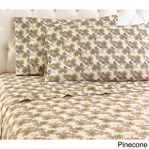 4 Piece Green Pinecone Floral Theme Sheet Queen Set, Beautiful All Over Bohemian Print, Motif Flowers Bedding, Features Hypoallergenic, Eco-Friendly, Fully Elasticized Fitted, Cotton, Flannel
