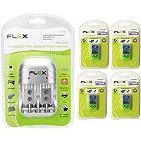 Carregador de Pilhas Flex C03 Com 4 Baterias 9v 450 mah Recarregável FX-9V/450