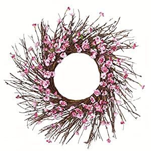 "Worth Imports 22"" Cherry Blossom Wreath On Natural Twig Base 116"