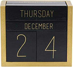 Juegoal Wooden Perpetual Calendar, Wooden Block Daily Calendar Office Desk Accessories (Black)