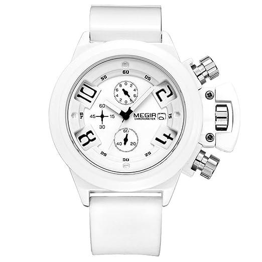 Megir casual fashion relojes homre grande sumergible cronógrafo reloj militar deportivo shock de cuarzo para hombres de silicona: Amazon.es: Relojes