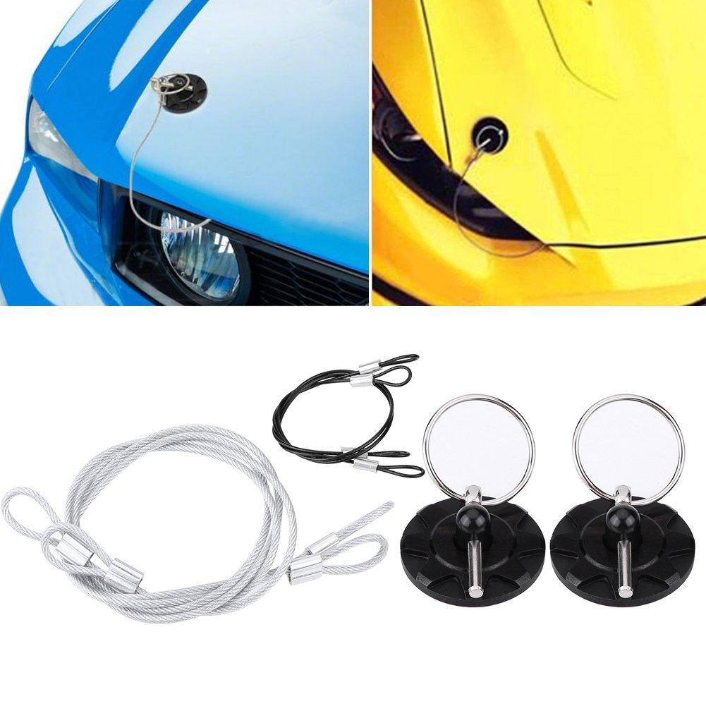 Estink Hood Lock,2PCs Universal CNC Aluminum Car Vehicle Racing Hood Pin Lock Latches Lock Appearance Kit (Black)