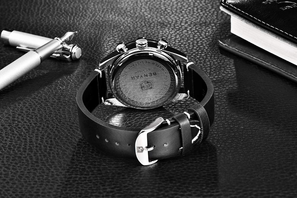Gskj herr kvartsklocka, mode läderrem kalender sport kronograf lyx metall vattentät affärsaktiviteter b