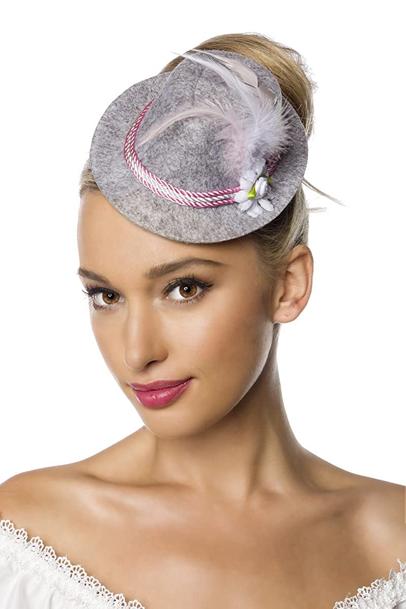 Grigio da donna Mini cappello Cappello di feltro cappello bavarese con  cordino fiori e piume Oktoberfest travestimento Fascinator Blau Taglia  unica  ... 4cbf03a23298