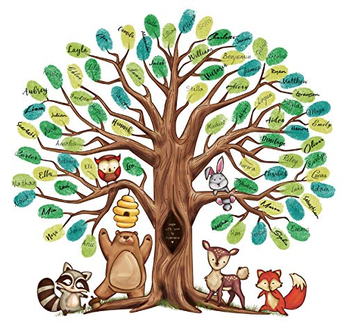 Fingerprint Tree Canvas - The Alternative to A Baby Shower Guest Book - with 25 Complimentary Good Advice Cards & Ink, Woodland