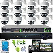 USG Sony DSP 2MP 1080P 12 Camera Security System PoE IP CCTV Kit * 1x 24 Channel NVR + 12x 2.8-12mm PoE IP Dome Camera with Bracket + 1x 18 Port Gigabit PoE Network Switch + 1x 4TB HDD * Apple Android