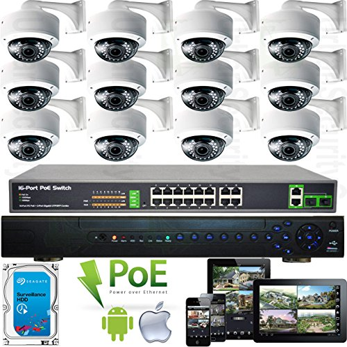 USG 2K Full HD 2MP 1080P 30FPS 12 Camera Security System IP PoE CCTV Kit : 1x 32 Channel NVR + 12x 2.8-12mm Dome Cameras with Brackets + 1x 18 Port Gigabit PoE Network Switch + 1x 4TB HDD Review