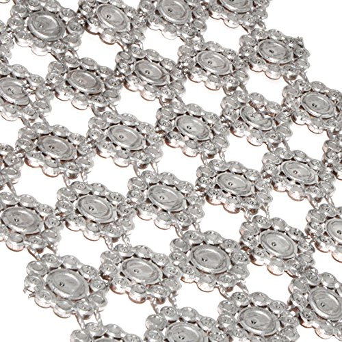 Mandala Crafts Faux Diamond Bling Wrap, Faux Rhinestone Crystal Mesh Ribbon Roll for Wedding, Party, Centerpiece, Cake, Vase Sparkling Decoration (Flower Pattern 4 Inches 10 Yards, Silver)