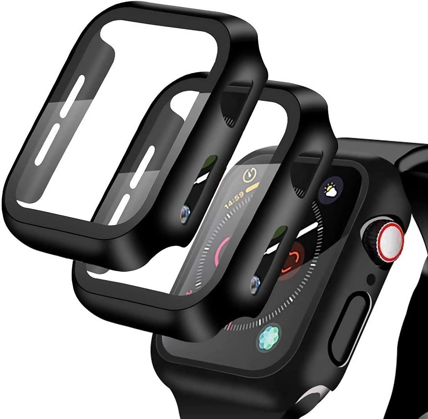 [2 Pack] Compatible for Apple Watch 44mm Series 6 / SE/ Series 5 /Series 4 Tempered Glass Screen Protector with Black Bumper Case, YMHML Full Coverage Easy Installation Bubble-Free Cover for iWatch Accessories