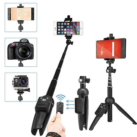 Luxebell Palo Selfie Trípode Bluetooth, Monopod Trípode con Control Remoto para Cámara Gopro, iPhone X / 8/8 Plus 7/7 Plus / 6s / 6s Plus / 5s, ...