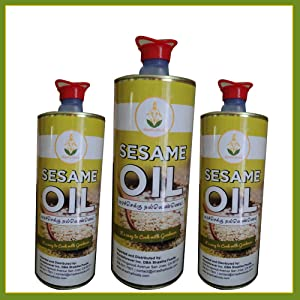 Shastha Cold Pressed (Chekku) Sesame Oil - 1 Ltr (Pack of 3) 1Ltr x 3 cans Total 3 Ltrs (B-M)
