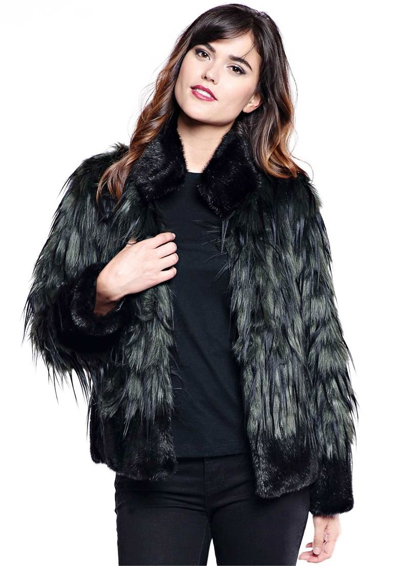 Roamans Women's Plus Size Fabulous Furs Feather Fox Jacket Green Fox,18 W by Roamans