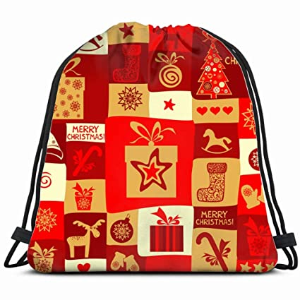 14fa8eef54a848 holiday pattern christmas new year the arts holidays Drawstring Backpack  Bag Gym sack Sport Beach Daypack