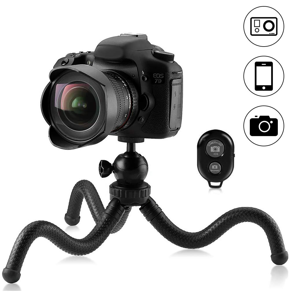 Phinistec Mini Flexible Phone Tripod for iPhone, DSLR, Camera, Gopro, Samsung, Huawei and Other Smartphone with Universal Cell Phone Mount and Bluetooth Remote Shutter and Gopro Adatper (Black)