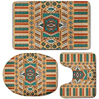 3 Piece Bath Mat Rug Set,Tribal,Bathroom Non-Slip Floor Mat,Ethnic-Aztec-Secret-Tribe-Pattern-in-Native-American-Bohemian-Style,Pedestal Rug + Lid Toilet Cover + Bath Mat,Apricot-Orange-and-Teal