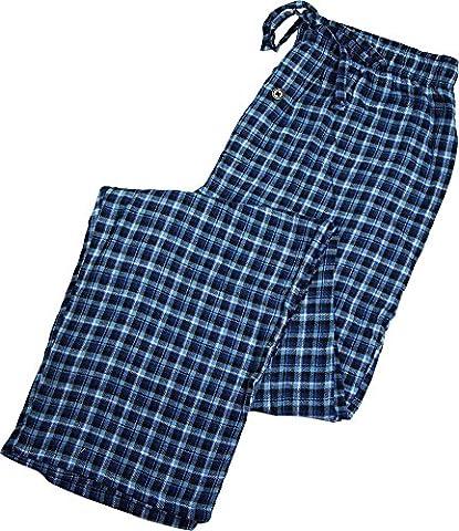 Fruit of the Loom - Mens Big Flannel Plaid Sleep Lounge Pant, Blue 39763-XX-Large - Flannel Pajama Pants Sleepwear