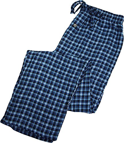 Fruit of the Loom - Mens Flannel Plaid Sleep Lounge Pant, Blue 39762-X-Large