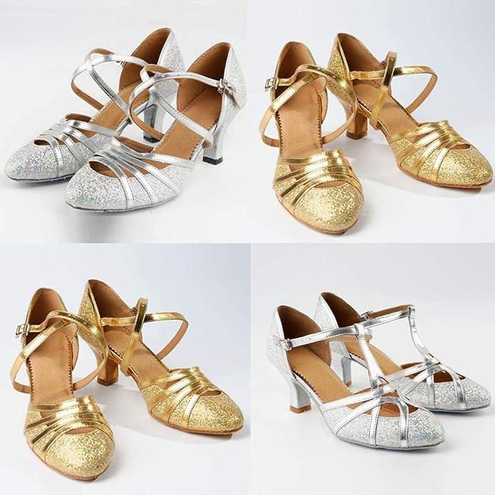 Charakterschuhe Damen Latein Salsa Rumba Trachten Tango Tanz Schuhe Elegante Pumps Mittelhohe Riemchen Geschlossen Kn/öchelriemen Weicher Boden Celucke