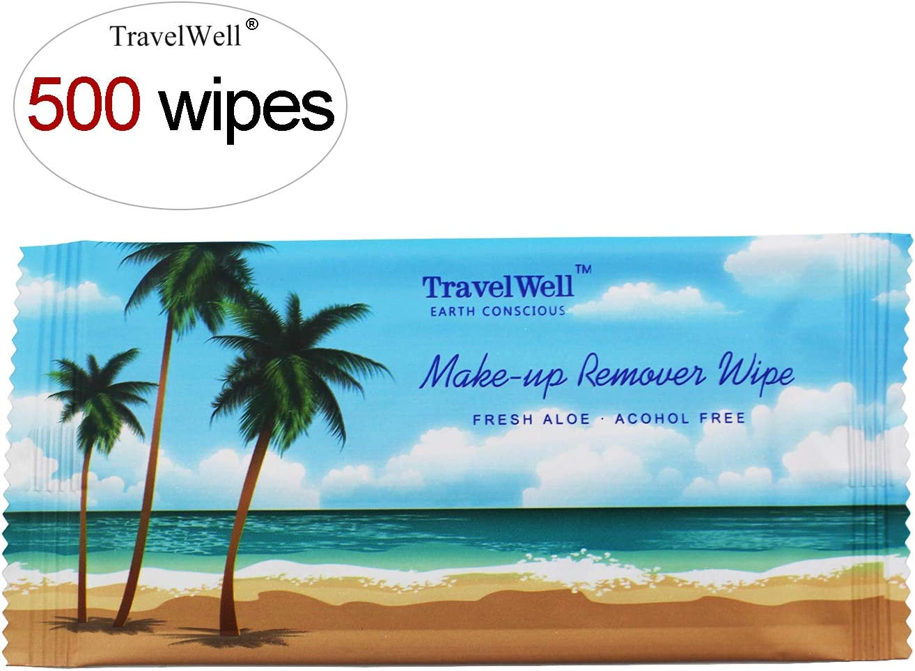 TRAVELWELL Cleanings & Make-Up Remover Wipes Nartural Fresh Aloe Acohol Free Travel Packs Hotel Toiletries Amenities Individually Wrapped, 500 Count per Package
