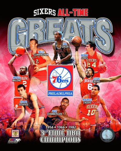 Philadelphia 76ers 3 Time NBA Champions and All Time Greats Composite Photo 8x10 (Vip Sports Photos)