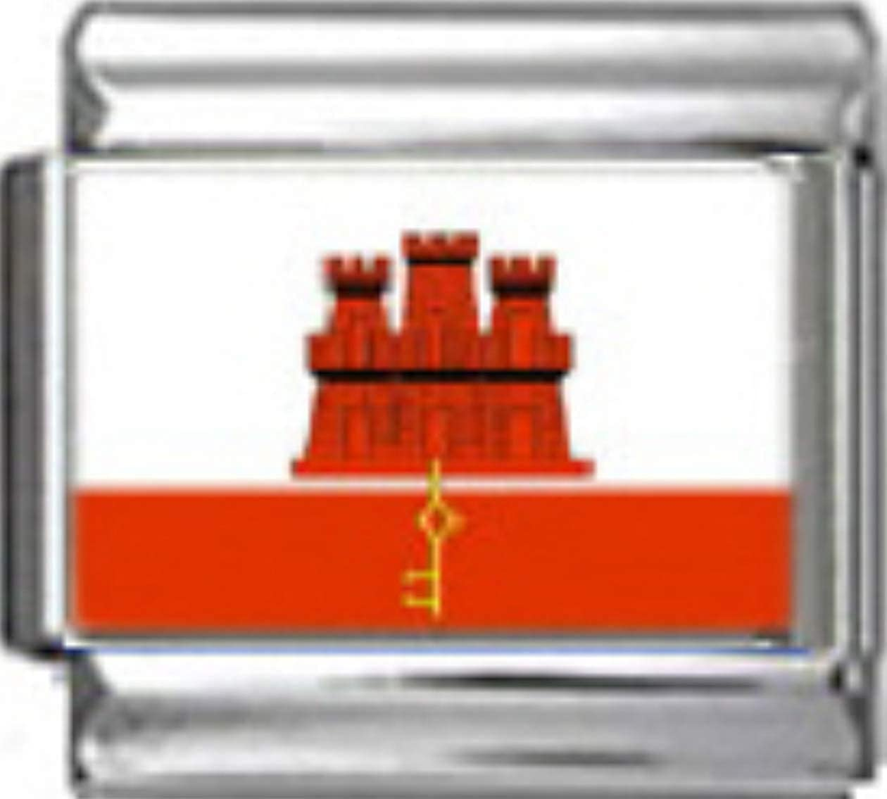 Stylysh Charms Gibraltar Gibraltarian Flag Photo Italian 9mm Charm PC067 Fits Nomination Classic