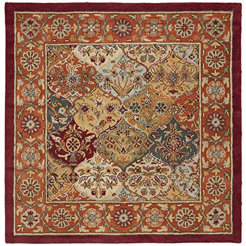 Safavieh Heritage Collection HG510B Handcrafted Traditional Oriental Multi and Red Wool Square Area Rug (8' Square) (Handmade Heritage Panels)