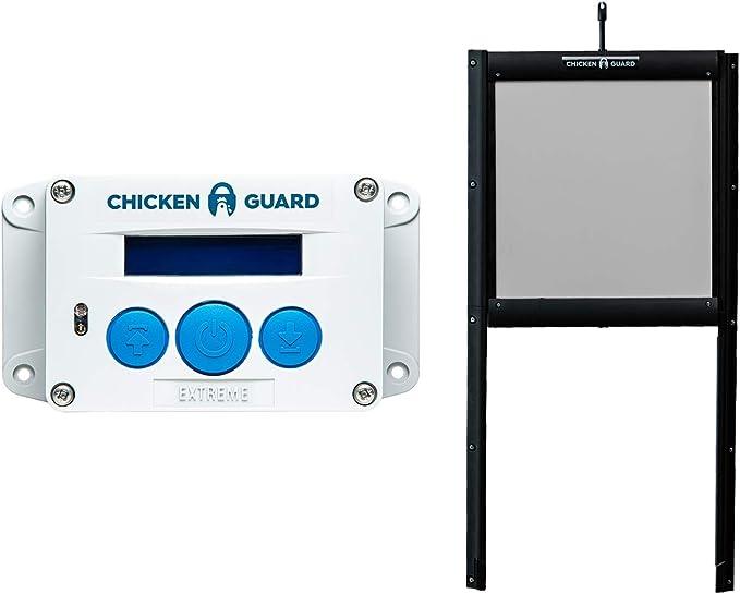 Abridor automático de puertas ChickenGuard® Extreme para gallinero apertura y cierre por horario ou sensor de luz más puerta autobloqueante de aluminio, puerta Pop Hole resistente a los depredadores