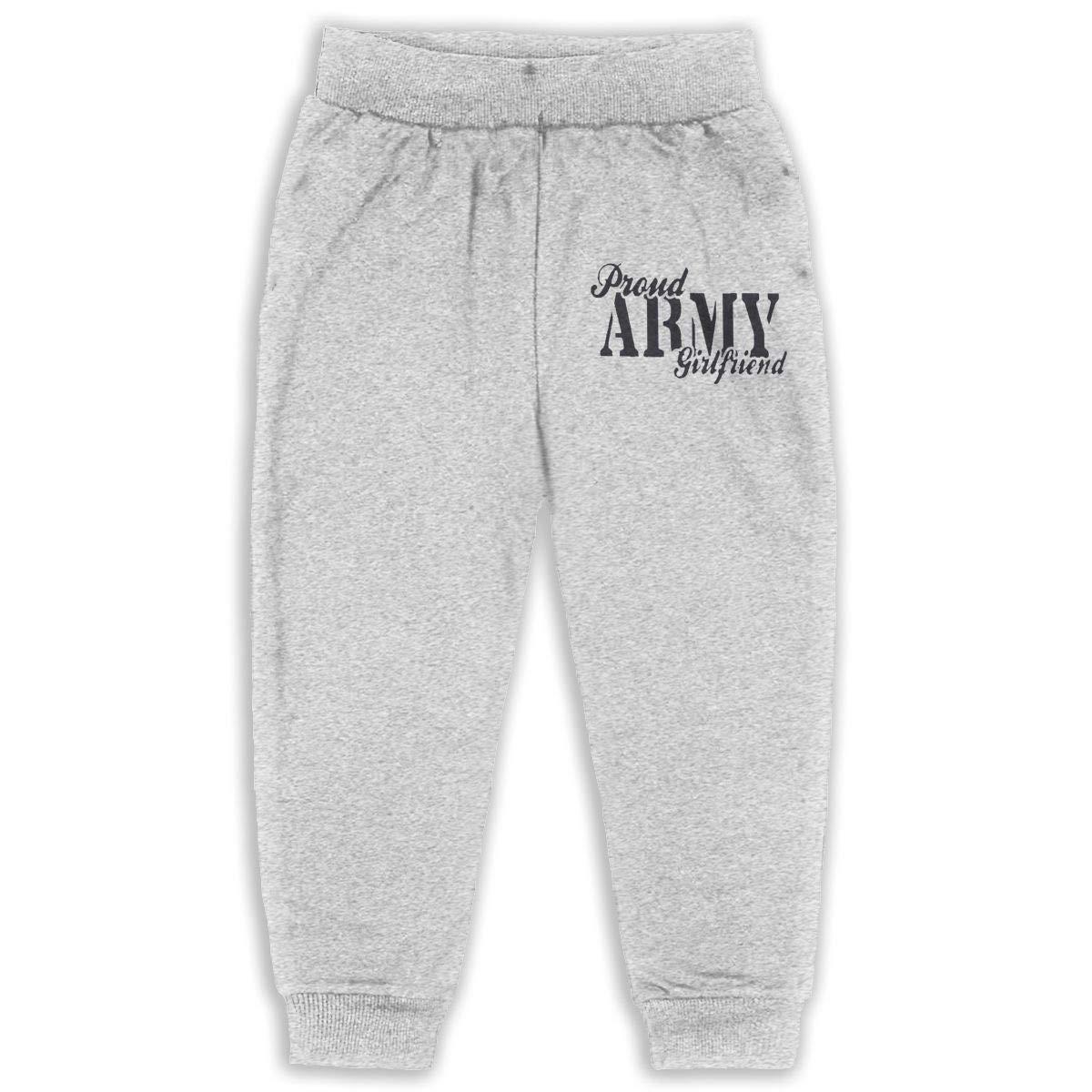Fleece Active Joggers Elastic Pants Proud Army Girlfriend Design Sweatpants for Boys /& Girls