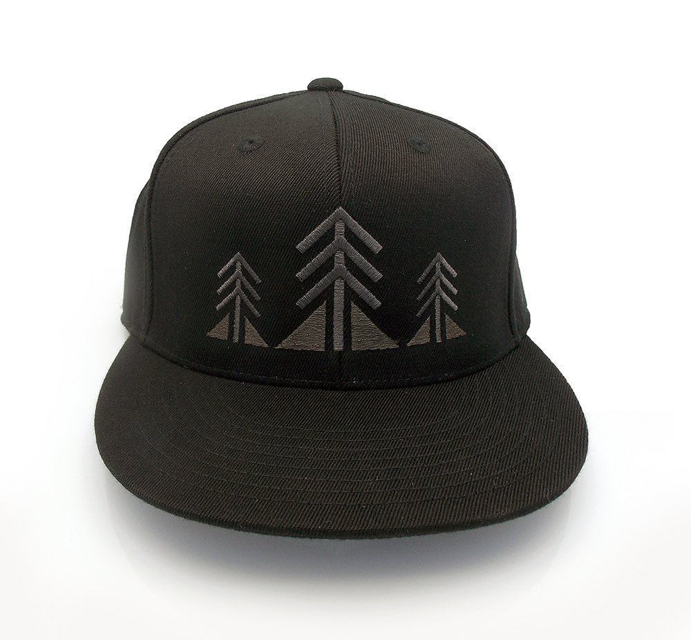 Men's Baseball Hat - Three Trees - Men's Flat bill and Curved Bill Fitted & Snapback Options Available